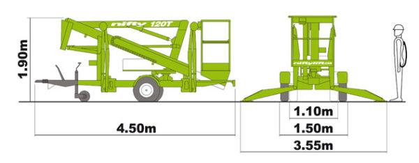 габаритные размеры подъёмника Nifty 120 T