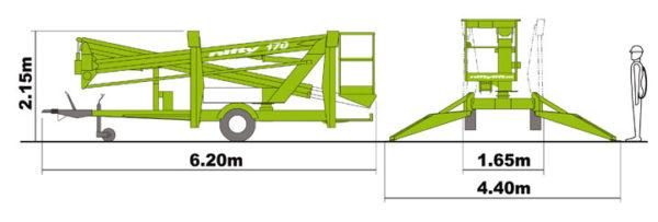 Габаритные размеры прицепного коленчатого подъёмника Nifty 170