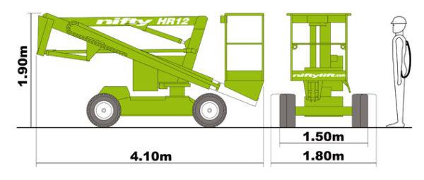 размеры подъёмника Nifty HR 12