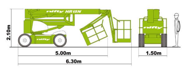 Размеры коленчатого подъёмника Nifty HR 15 N