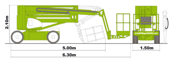 Размеры коленчатого подъёмника Nifty HR 17 N